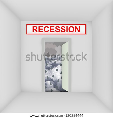 Business Solution Concept Present By The White Room With Recession Door Open to The Rainstorm - stock photo