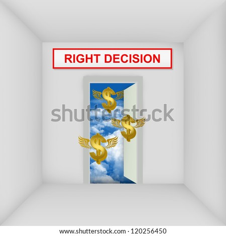 Business Solution Concept Present By The White Room With Right Decision Door Open to The Blue Sky With Flying Golden Dollar Currency Sign - stock photo