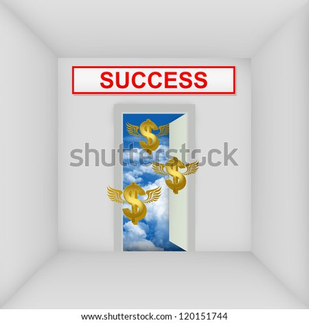 Business Solution Concept Present By The White Room With Success Door Open to The Blue Sky With Flying Golden Dollar Currency Sign - stock photo