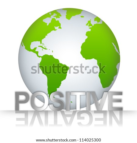 Business Solution Concept, The Green Globe With Silver Metallic Positive Text With Negative Text As Shadow Isolated on White Background