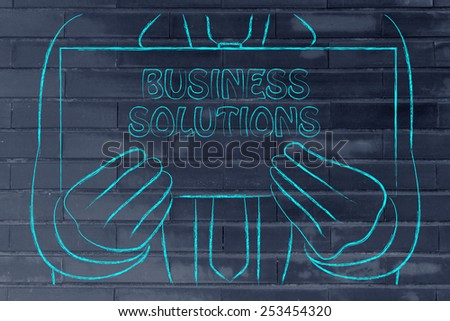 Business Solution sign in the hands of a business man  - stock photo