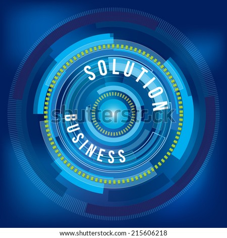 Business solution with blue circle digital background
