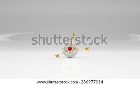 Business sphere. Goal. Golden arrow - dollar. - stock photo