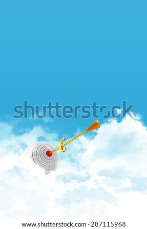 Business sphere. Goal. Golden arrow - euro. - stock photo