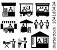 Business Stall Store Booth Market Marketplace Shop Icon Symbol Sign Pictogram - stock photo