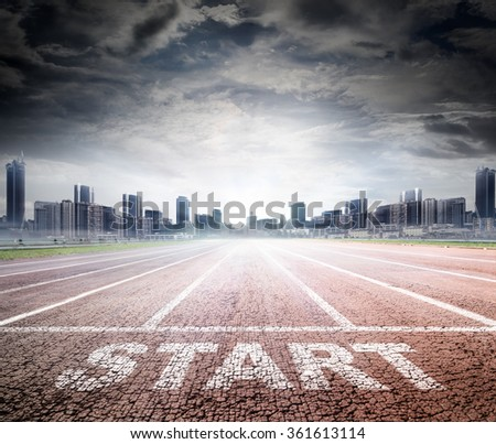 Business Start - Run Track To Success  - stock photo
