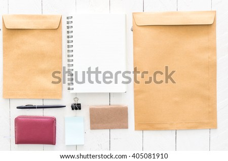 Business stationary set on wooden background
