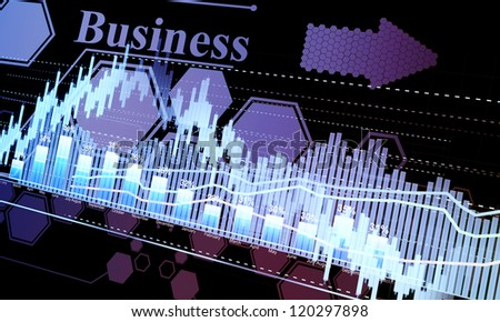 Business statistics and analytics, glowing sheet beznes statistics of exchange trading in the dark - stock photo