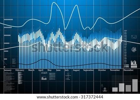 Business statistics and analytics, statistics of exchange trading in the dark - stock photo