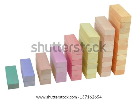 Business statistics graph. Wooden columns isolated on white. - stock photo