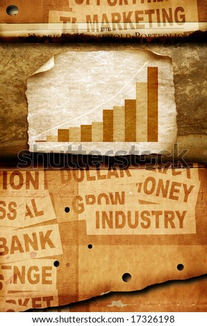 Business statistics on Old paper - stock photo