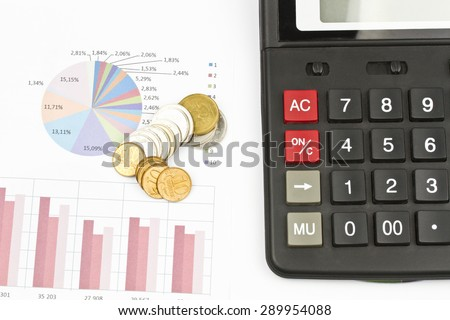 Business still-life of pen, charts, calculator, graphs, coins - stock photo