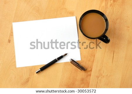 business still life with empty sheet paper for copyspace - stock photo