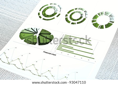 Business still-life with green diagram, chart and numbers - stock photo