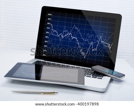 Business stocks on mobile devices - stock photo