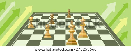 Business strategic management formation in the chess game. Concept in flat design style. Can be used for web banners, marketing and promotional materials, presentation templates. Raster version - stock photo