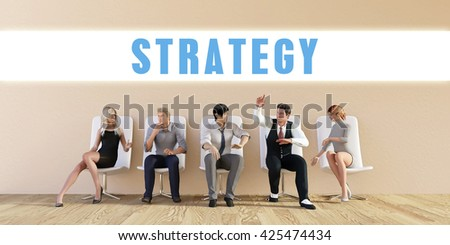 Business Strategy Being Discussed in a Group Meeting 3D Illustration Render - stock photo