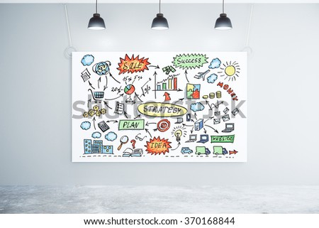 Business strategy concept on the poster on the wall with concrete floor and lamps 3D Render - stock photo