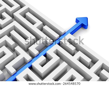 Business strategy, creativity and marketing concept. Blue arrow path across labyrinth. - stock photo
