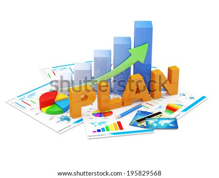 Business Strategy Planning Concept. Business Graph, Pie Chart and Financial Reports isolated on white background - stock photo
