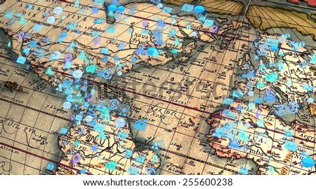 Business strategy planning concept of old world map with finance and statistics related icons - stock photo