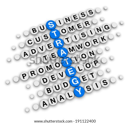 business strategy sitting crossword puzzle - stock photo