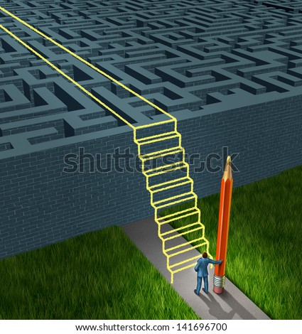 Business strategy solutions as a concept for financial planning to overcome a maze or labyrinth with new thinking as a businessman holding a pencil drawing a stairway bridge over the obstacle. - stock photo