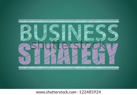 business strategy written on a blackboard illustration design - stock photo