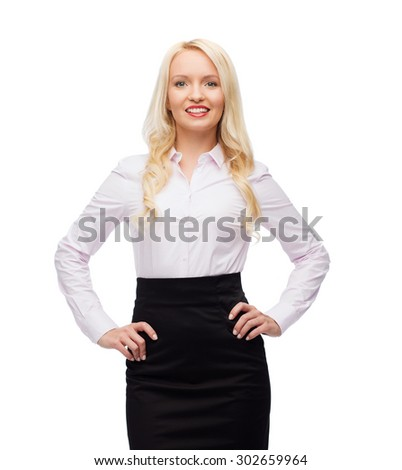 business, style and people concept - smiling businesswoman, student or secretary over white background - stock photo