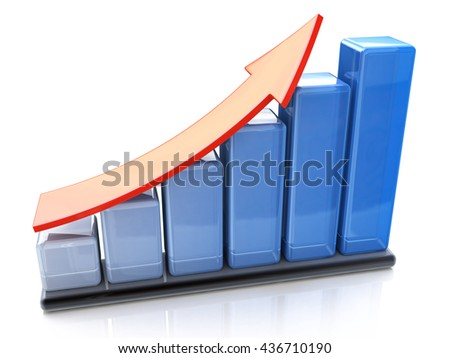 Business success and financial growth and development concept: blue growing bar chart with red rising arrow isolated on white background with reflection effect. 3d illustration - stock photo