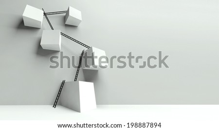 Business success concept and metaphoric obstacles - stock photo