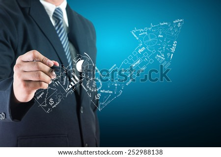 Business success concept, Businessman creative drawing charts and graphs strategy plan ideas - stock photo