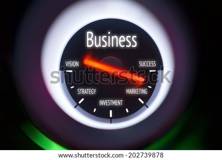 Business Success concept displayed on a gauge