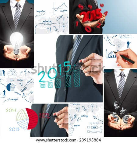 Business 2015 success concept, With creative drawing chart and graphs strategy plan idea - stock photo