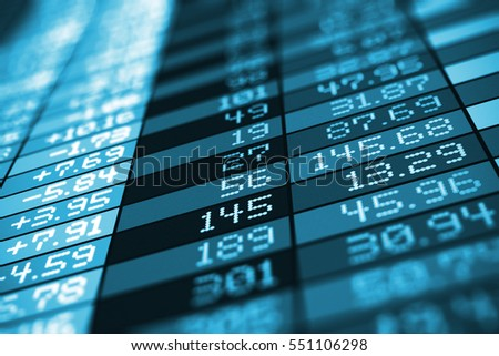 Business success, financial development, trading commercial success and corporate management growth concept: 3D render of stock exchange market trade big data arranged in table chart screen or monitor