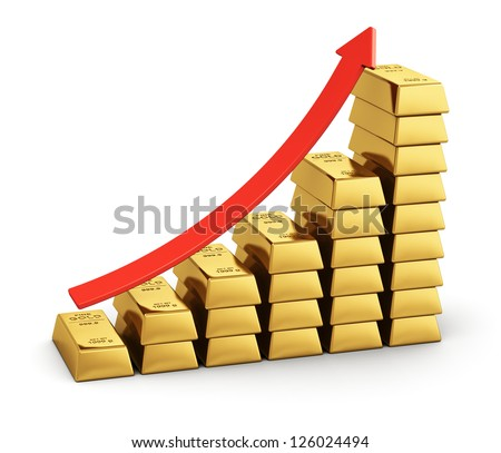 Business success, financial growth and banking development concept: bar chart from gold ingots with red arrow isolated on white background - stock photo
