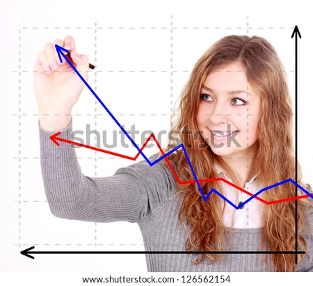Business success growth chart. Business woman drawing graph showing profit growth on virtual screen.  businesswoman isolated on white background in suit.