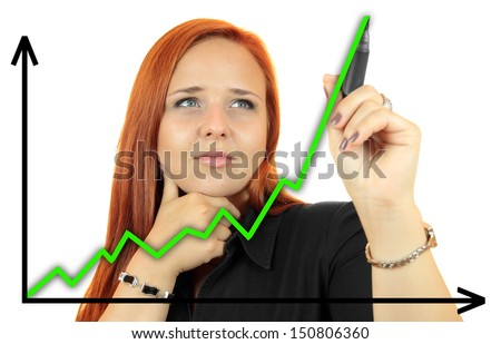 Business success growth chart. Business woman drawing graph showing profit growth on virtual screen. Redhead businesswoman isolated on white background - stock photo