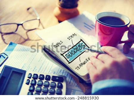 Business Success Mission Motivation Office Working Concept - stock photo