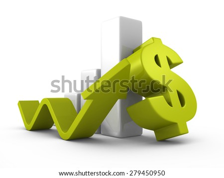 Business Successful Dollar Bar Graph With Growing Up Arrow. 3d Render Illustration - stock photo