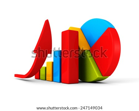 business successful financial bar growth graph with rising arrow. 3d render illustration