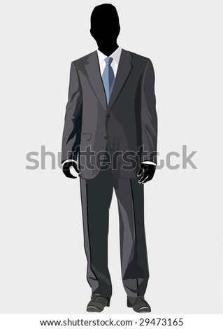 Business Suit template with blue tie