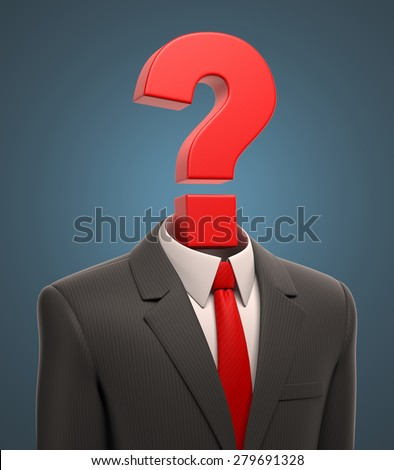 business suit with question mark