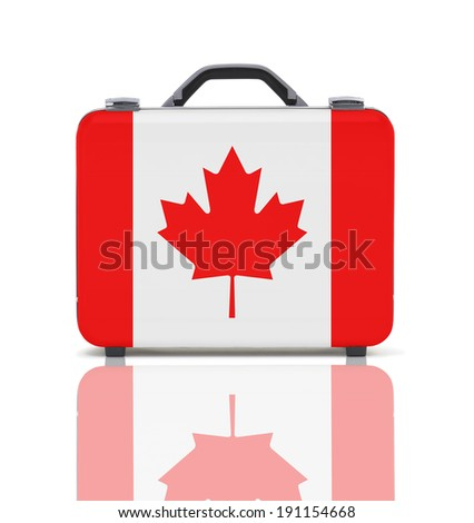 Business suitcase for travel with reflection and flag of Canada - clipping path - stock photo
