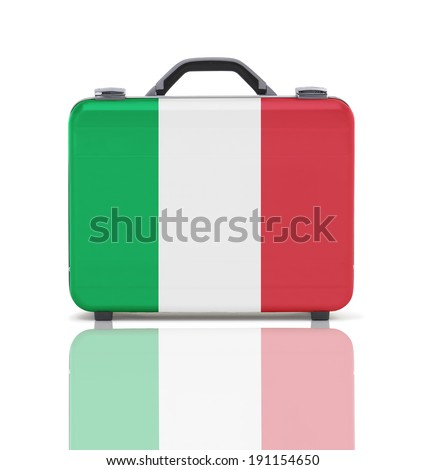 Business suitcase for travel with reflection and flag of Italy - clipping path - stock photo