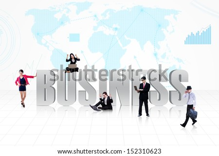 Business symbol of global business life with people surround it on world map background