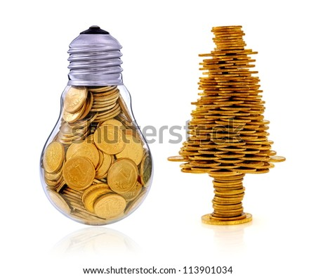 Business symbols and metaphors, happy tree and golden light bulb - stock photo