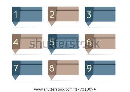 business tags set with numbers - stock photo