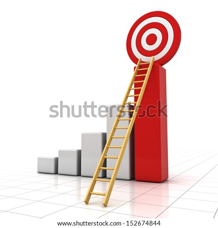 Business target concept , 3d business graph with wood ladder to the red target isolated over white background with reflection - stock photo