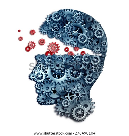 Business teacher and mentorship concept as a learn and lead symbol for career skill building from a corporate trainer as a human head made of gears and cogs on a white background.